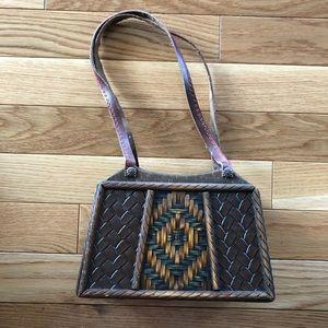 ☀️Vintage Original Wooden Purse Leather Straps
